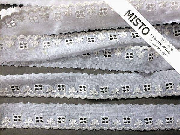 Tira Bordada 3,50 cm - MISTO - cerca de 92% algodão e 8%  poliéster | Peça com 7,20 m