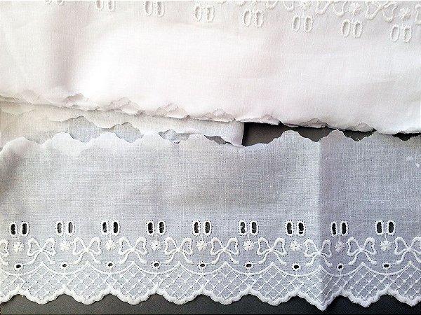 Passa-Fita largo 10,00 cm - 100% algodão branco | Peça com 14,40 m