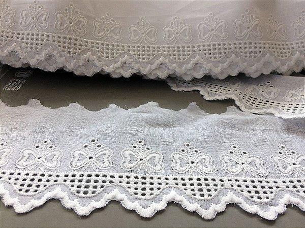 Tira Bordada 7,00 cm - 100% algodão branco | Peça com 14,40 m