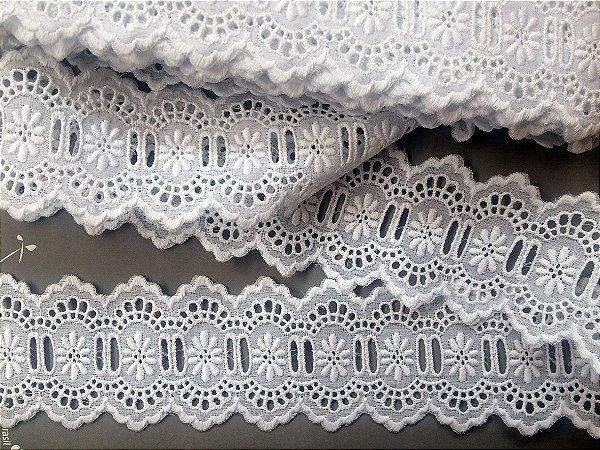 Passa-Fita largo 6,70 cm - 100% algodão branco | Peça com 14,40 m