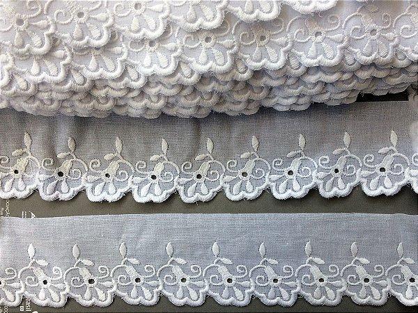 Tira Bordada 6,00 cm - 100% algodão branco | Peça com 14,40 m