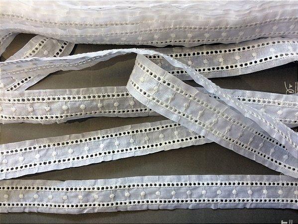 Entremeio 3,10 cm - 100% algodão branco | Peça com 14,00 m