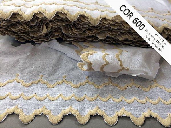 Tira Bordada 10,80 cm - Misto - 59% algodão 41% poliéster cor 600 Bege | Peça com 14,40 m