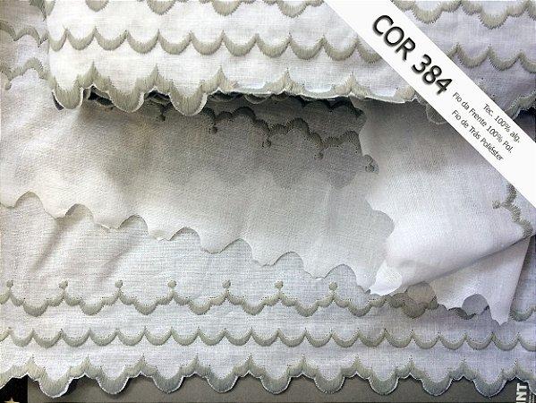Tira Bordada 10,80 cm - Misto - 59% algodão 41% poliéster cor 384 Cinza   Peça com 14,40 m