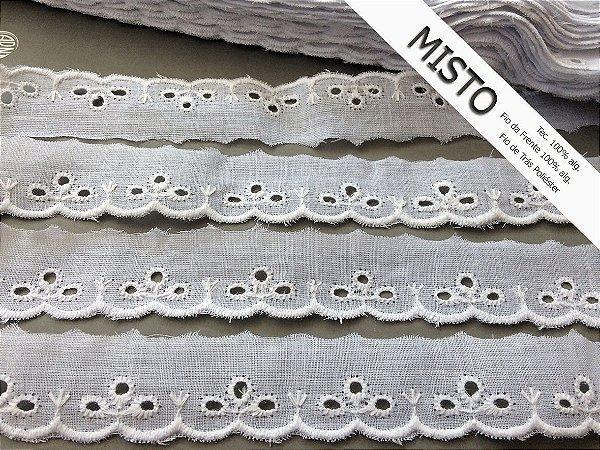 Tira Bordada 2,50cm - MISTO 92% algodão 8% poliéster branco | Peça com 13,80m