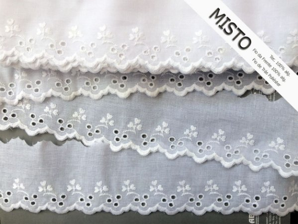 Tira Bordada 7,30 cm - MISTO 92% algodão 8% Poliéster branco   Peça com 7,20 m