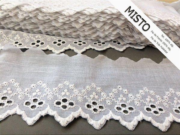 Tira Bordada 9,00 cm - MISTO cerca de 92% algodão e 8% poliéster | Peça com 7,20 m