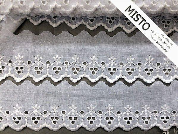 Tira Bordada 8,00 cm - MISTO cerca de 92% algodão e 8% poliéster | Peça com 14,40 m