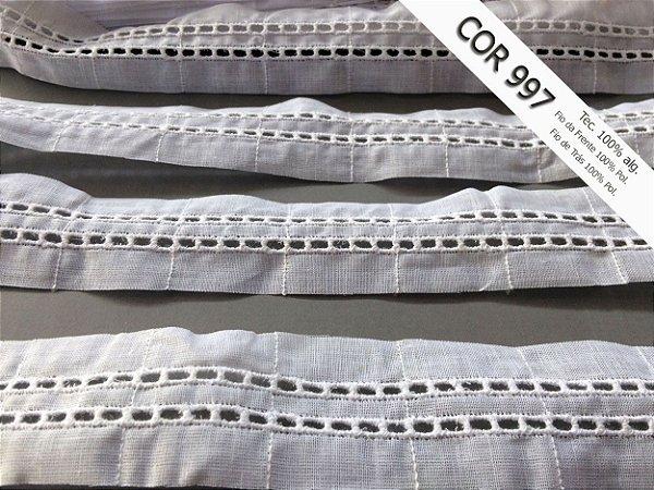 Entremeio ponto Ajour duplo 3,50 cm - MISTO 43% algodão 57% poliéster branco | Peça com 14,00 m
