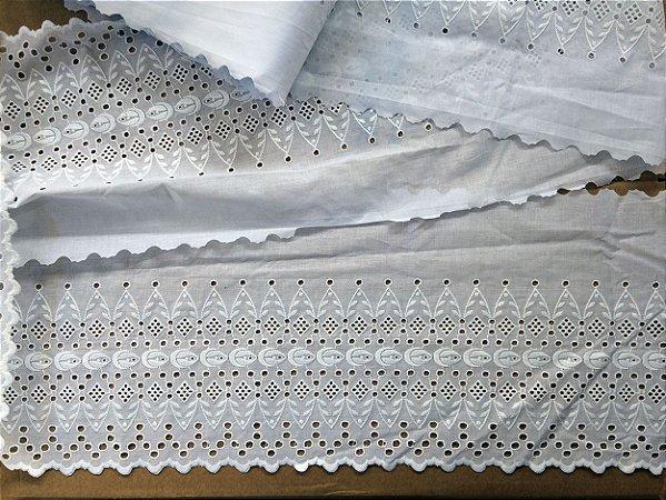 Tira Bordada 28,00 cm - 100% algodão branco | Peça com 14,40 m