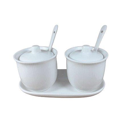 Kit2 Açucareiros porcelana branco com bandeja tampa colher