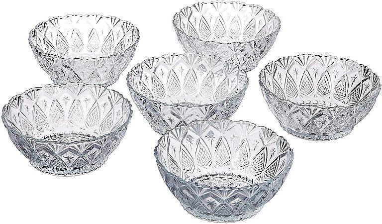 Conjunto 6 Tigela Bowl Vidro Sobremesa Salada Caldos