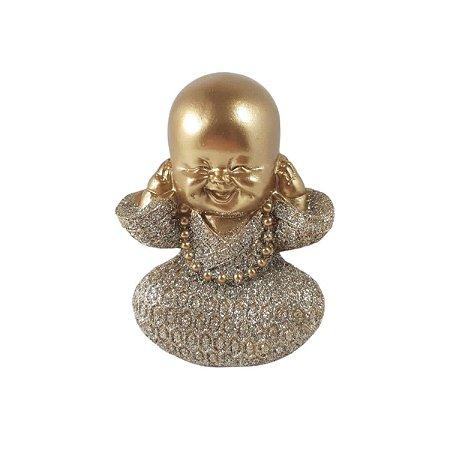 Enfeite Buda Tapando ouvidos Dourado Mesa Sala Escritório