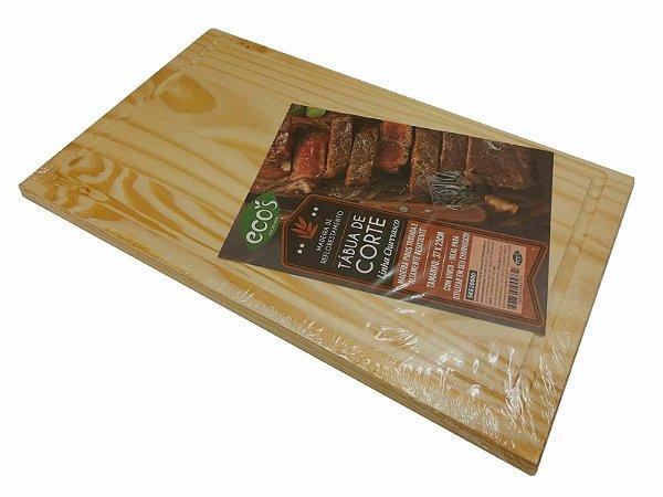 Tabua de madeira quadrada 37x23 p/ cozinha carnes churrasco