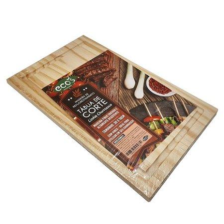 Tabua de madeira quadrada 30x18 p/ cozinha carnes churrasco