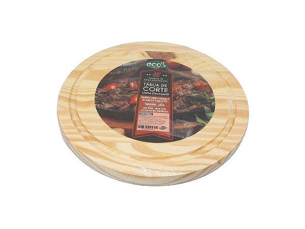 Tabua de madeira redonda 24cm p/ cozinha carnes churrasco