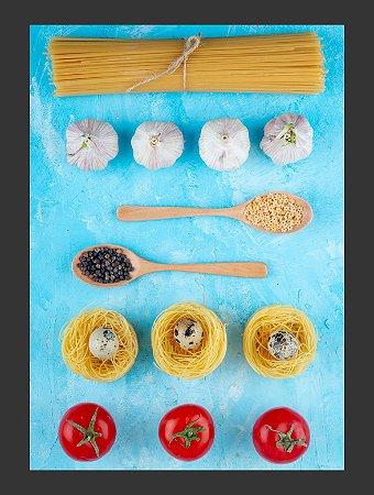 Quadro Decorativo alimentos massas Com Moldura E Vidro