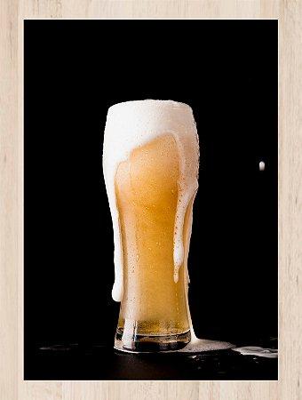 Quadro Decorativo copo cerveja com Moldura e Vidro