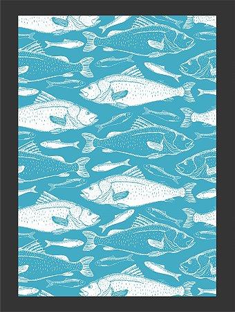 Quadro Decorativo peixes com Moldura e Vidro