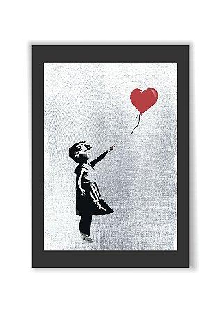 Quadro Banksy Art Garota Menina Com Balão Moldura E Vidro