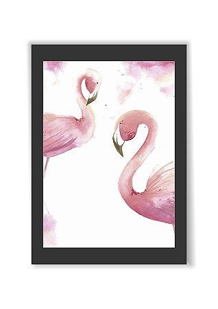 Quadro Decorativo Flamingo Arte Moldura E Vidro