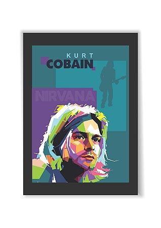 Quadro Kurt Kobain Nirvana Moldura E Vidro Presente