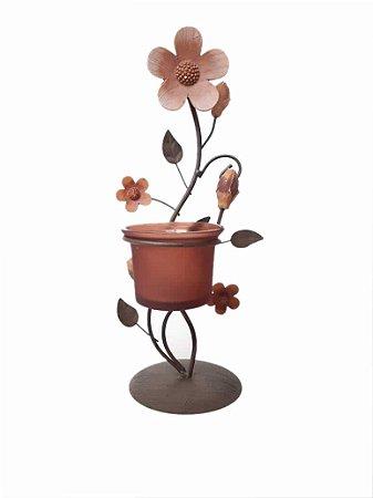 Castiçal De Metal Com Flores Suporte Velas Decorativas