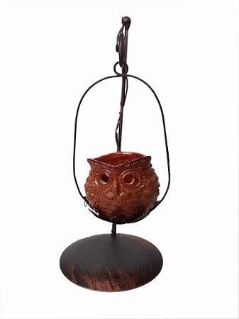 Castiçal De Metal Com Vaso De Coruja Velas Decorativas