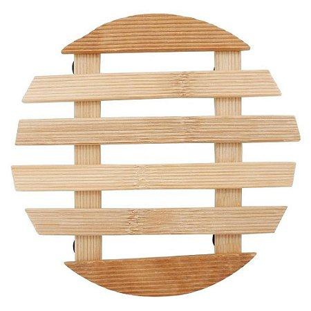 Kit 4 Peças Descanso Panela Bambu Redondo 17cm Pés Borracha