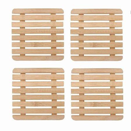 Kit 4 Peças Descanso Panela Bambu Quadrado 17cm Pés Borracha