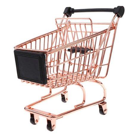Carrinho Supermercado Miniatura Rose Gold Decorativo