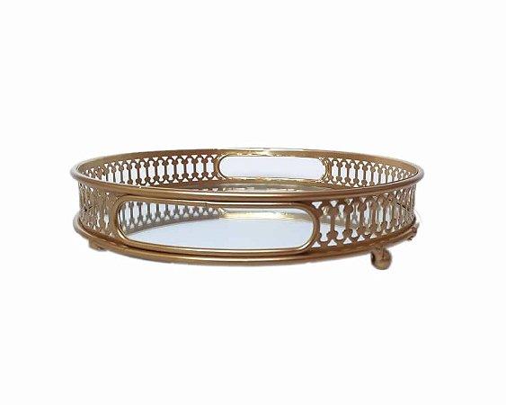 Bandeja Espelhada dourada redonda espelho requinte 20cm
