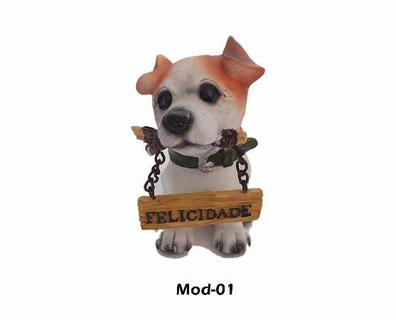 Enfeite Cachorros Miniatura Decorativo Com Placa De Gratidão