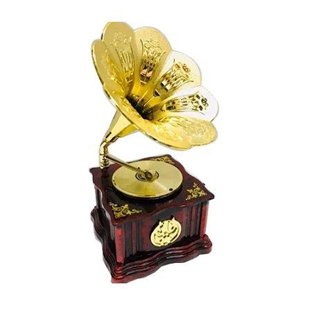Gramofone Vitrola Miniatura Caixa De Música Decoração