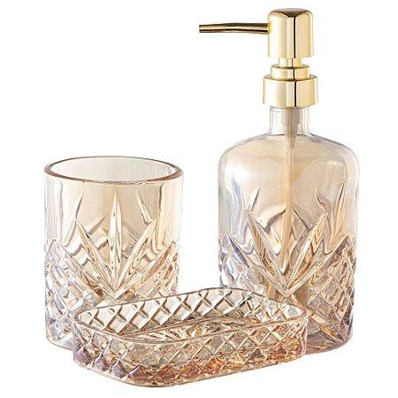 Kit Lavabo 3 Pçs Banheiro De Vidro Diamond Royal Conjunto