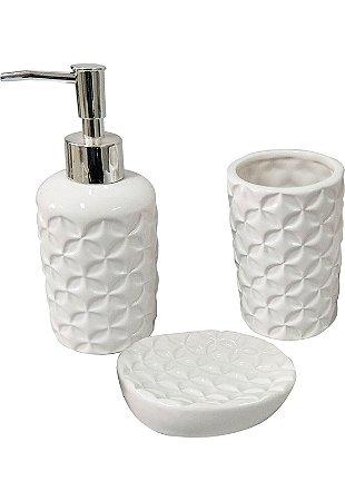 kit banheiro 3pçs cerâmica stars branco saboneteira escova