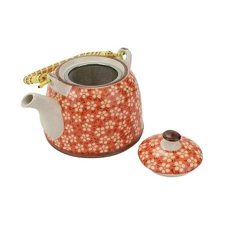 Bule de porcelana para chá decorativo com infusor aço inox