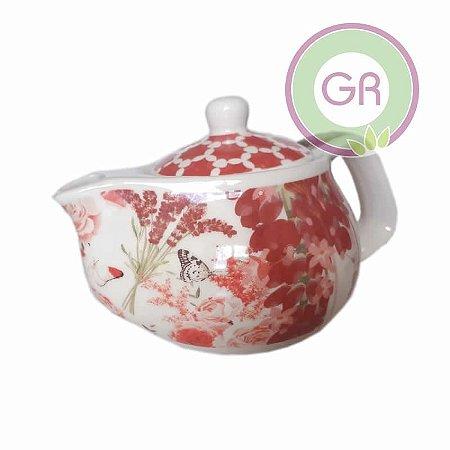 Bule de porcelana para chá decorativo com infusor aço inox peq