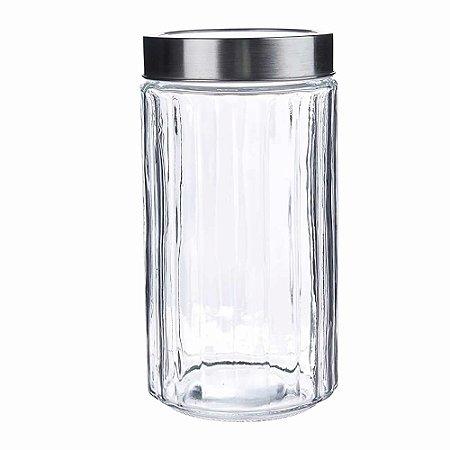 Porta mantimentos vidro tampa inox guardar pote arroz feijão