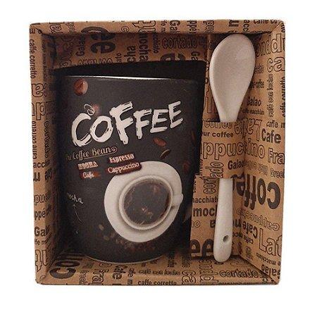Caneca Com Colher De Porcelana Café Leite Chá Box Presente