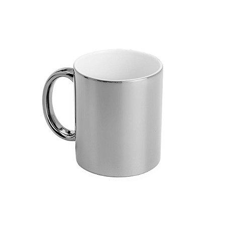 Caneca Prateada de cerâmica Luminus Luxo café chá leite