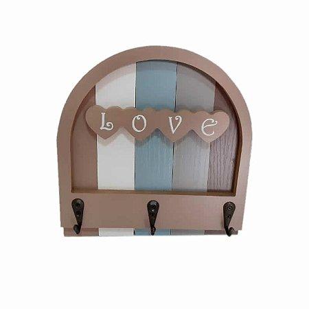 Porta chaves Madeira 3 ganchos - Love GDR0613
