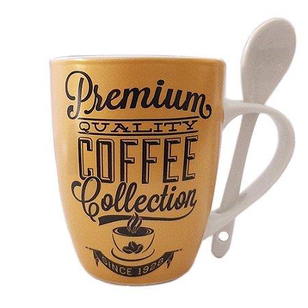 CANECA C/ COLHER PORCELANA 340ML CAFÉ LEITE PREMIUM COFFEE
