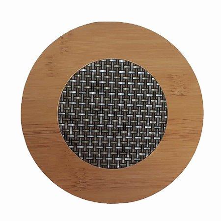 Kit 4 Descanso Panela Redondo Em Bambu Com Malha Metalizada