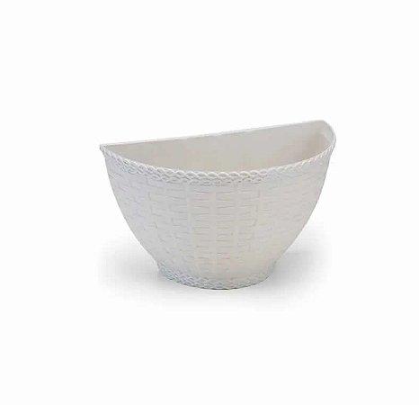 Kit Com 6 Vasos De Parede Rattan- Jardim Vertical Cor Branco