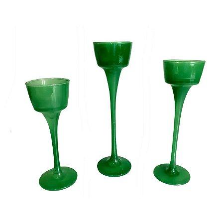 Castiçal de vidro com 3 PÇS vela candelabro