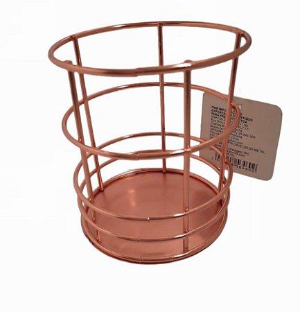Porta Objeto Lápis Caneta Pincel de Maquiagem Metal Rose Gold Organizador Aramado