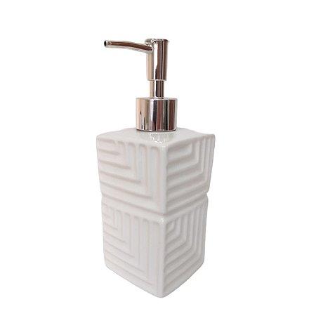 Porta sabonete líquido cerâmica branco 400ml com acionador