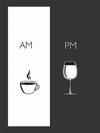 Quadro Café Vinho Am Pm Cozinha Gourmet Moldura E Vidro