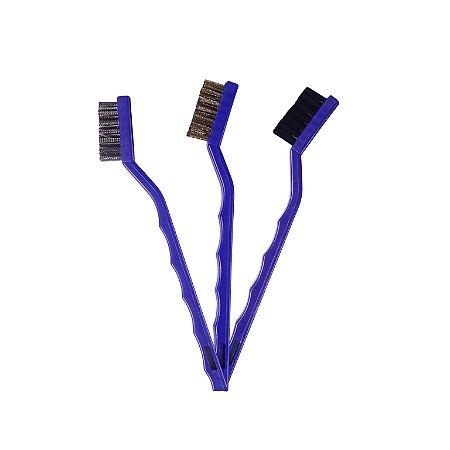 Vonixx Kit com 3 Escovas para Detalhamento Automotivo - Nylon, Latão e Aço Inoxidável